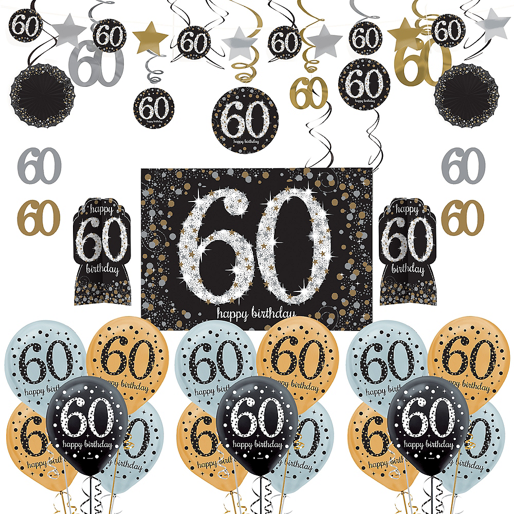 Nav Item For Sparkling Celebration 60th Birthday Decorating Kit With Balloons Image 1