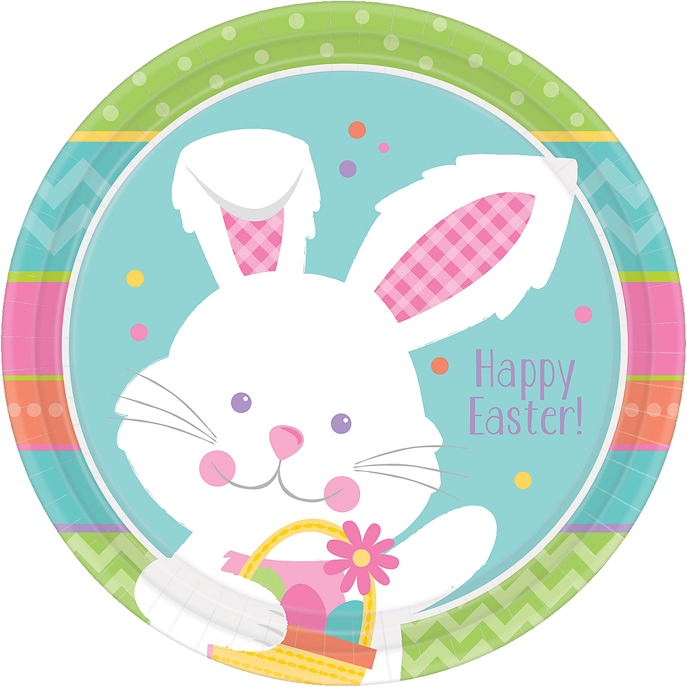 Hippity Hop Easter Bunny Lunch Plates 8ct Image #1