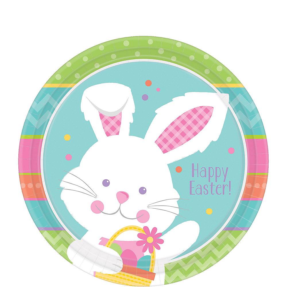 Hippity Hop Easter Bunny Dessert Plates 8ct Image #1