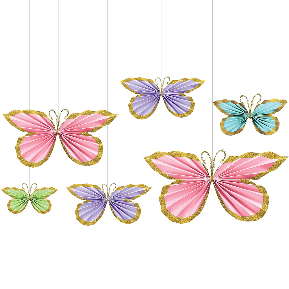 Glitter Butterfly Paper Fan Decorations 6ct Image #1
