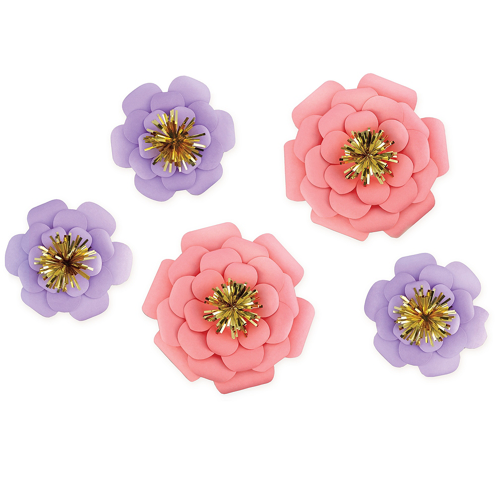 Pink Purple Paper Flower Decorations 5ct Party City