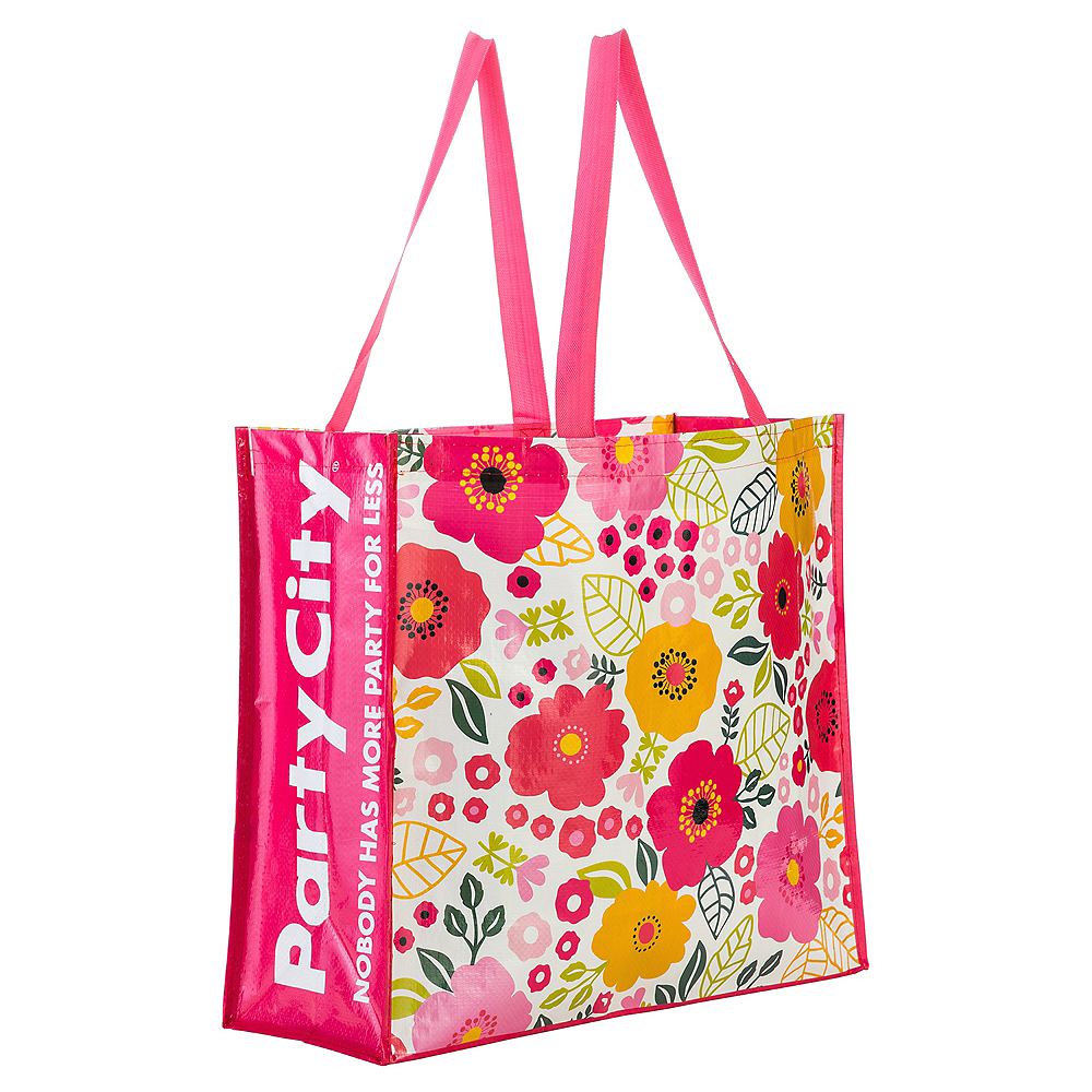 Coral Floral Tote Bag 19in X 17 12in Party City