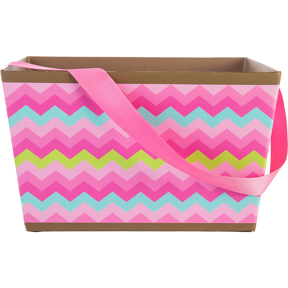 Pink Chevron Square Easter Basket Image #1