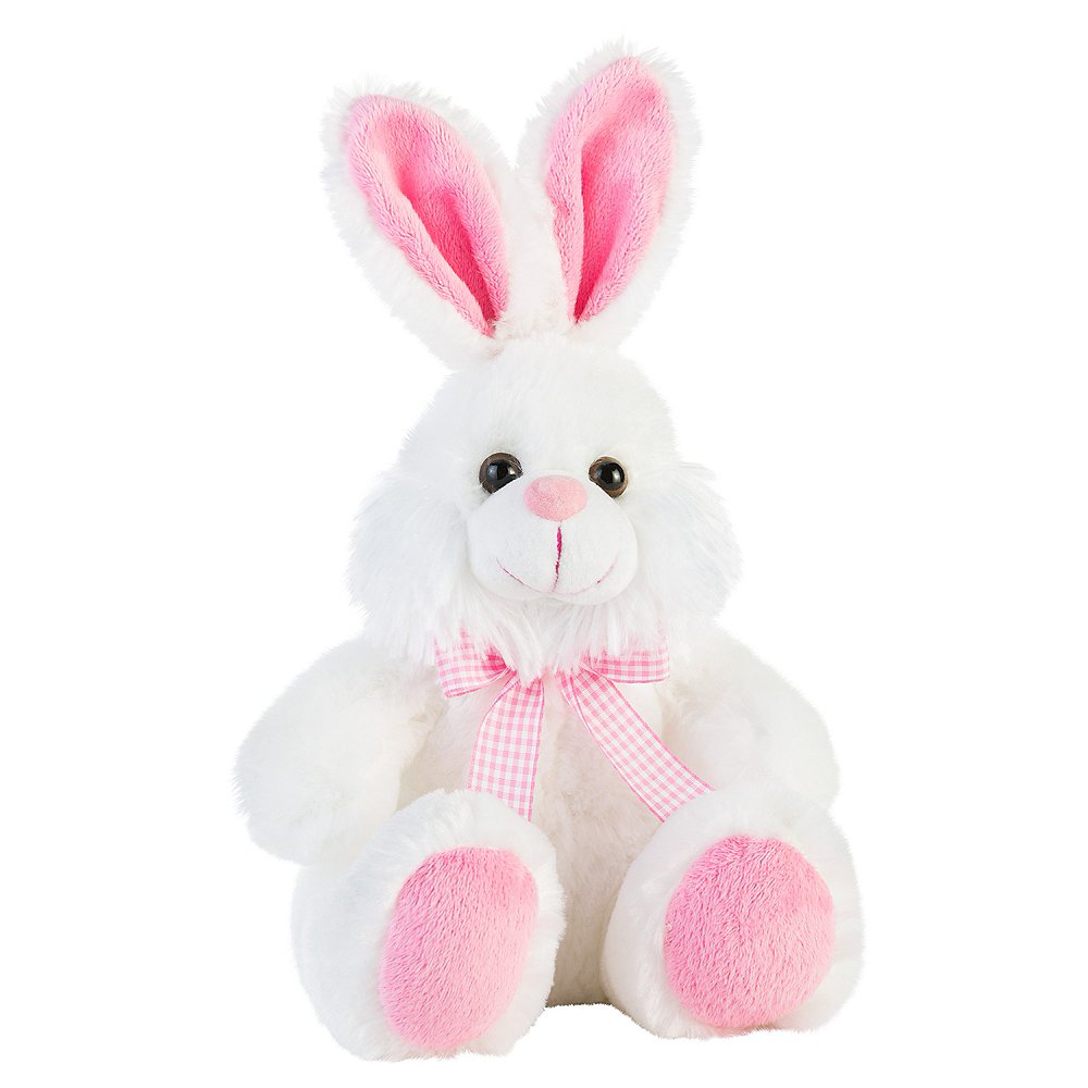 pink white easter bunny plush 7in x 13in party city