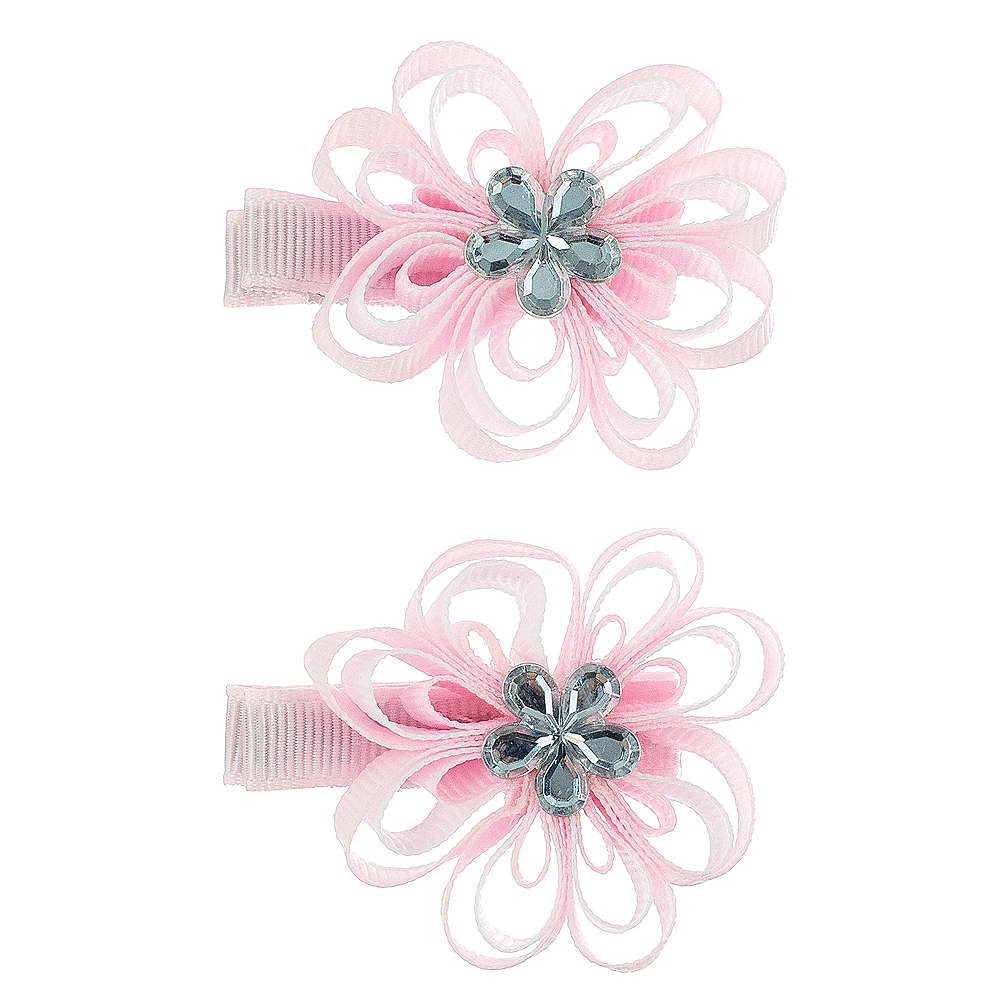 Pink Flower Hair Clips 2ct Party City