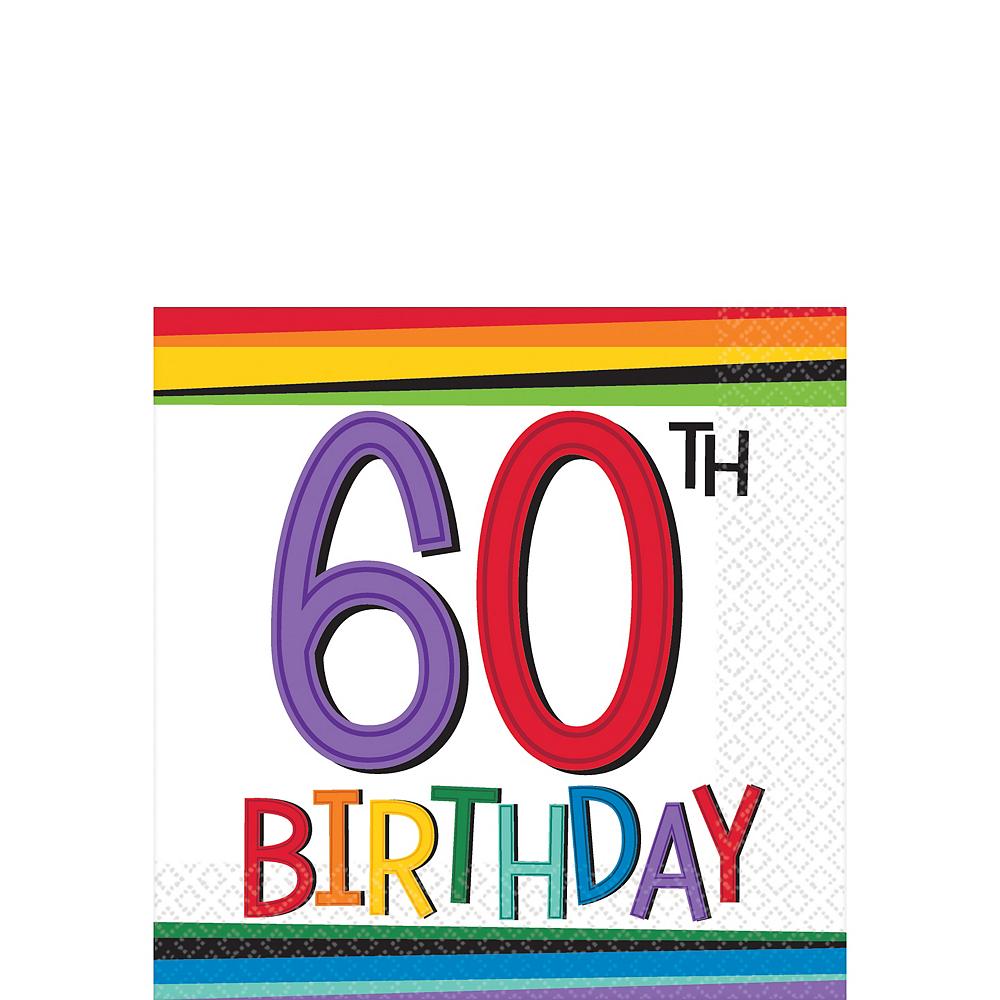 Rainbow 60th Birthday Beverage Napkins 16ct Image #1