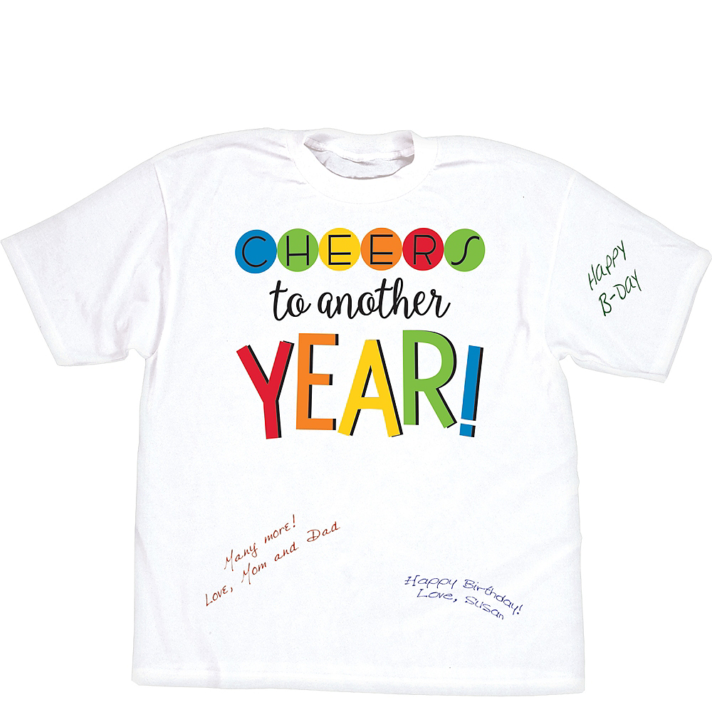 Rainbow Happy Birthday Autograph T Shirt Image 1