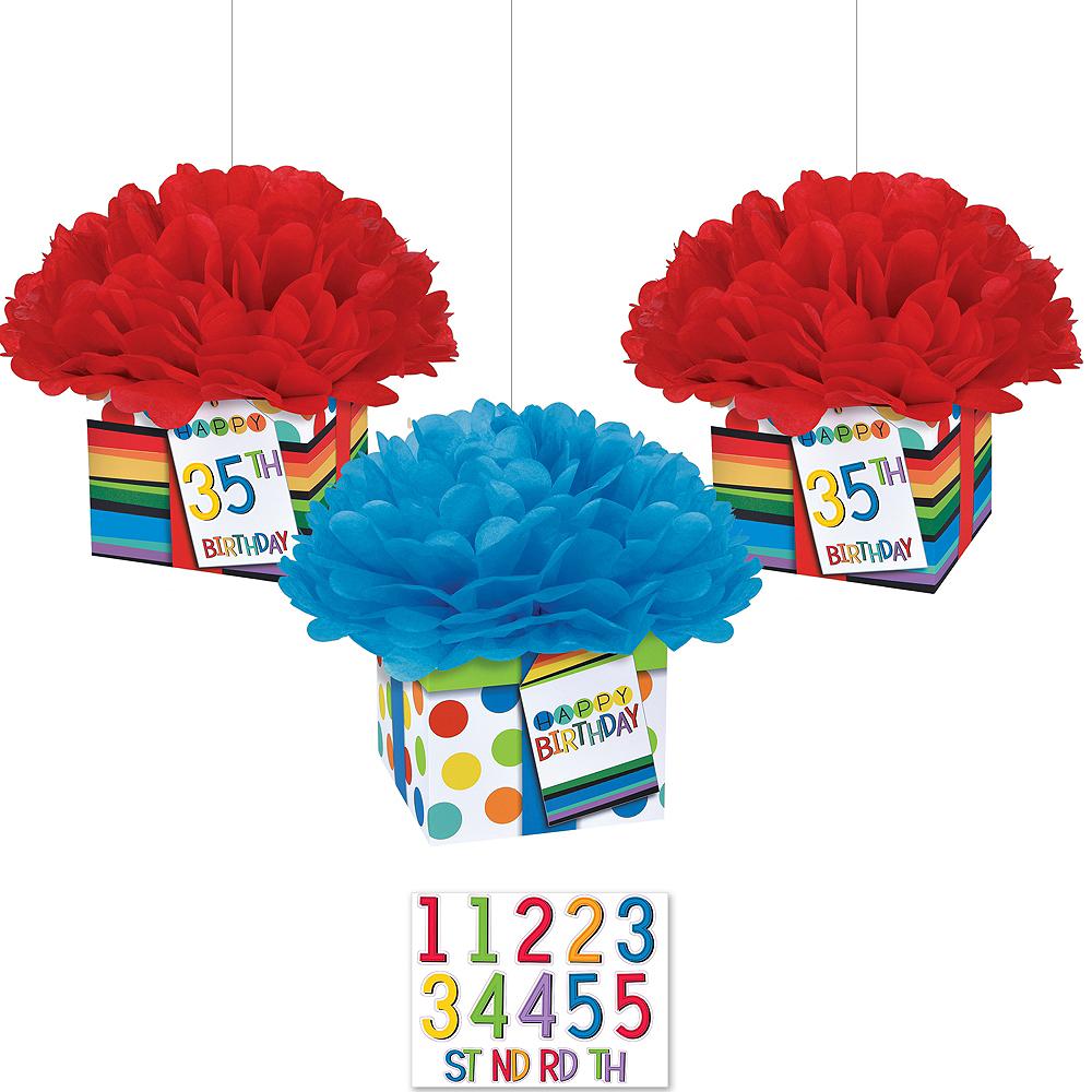 Rainbow Happy Birthday Tissue Pom Poms Kit Image #1