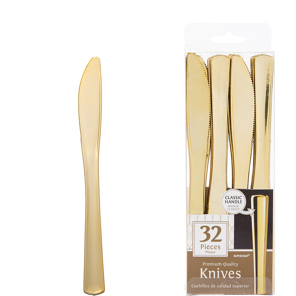 Nav Item for Gold Premium Plastic Knives 32ct Image #1