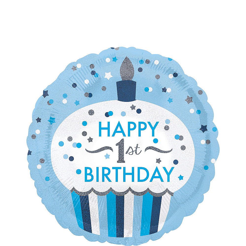 Blue Cupcake 1st Birthday Balloon 18in Image 1