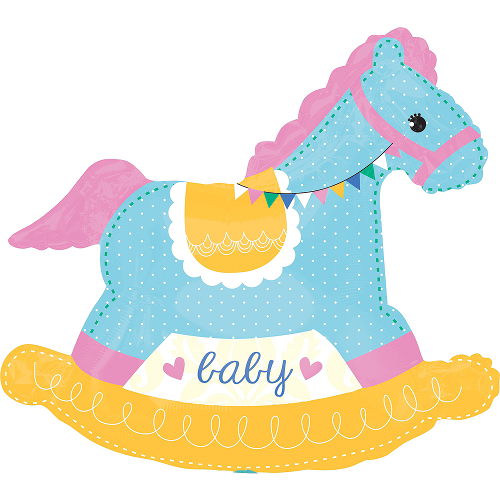 Nav Item for Giant Rocking Horse Baby Shower Balloon, 29in Image #1