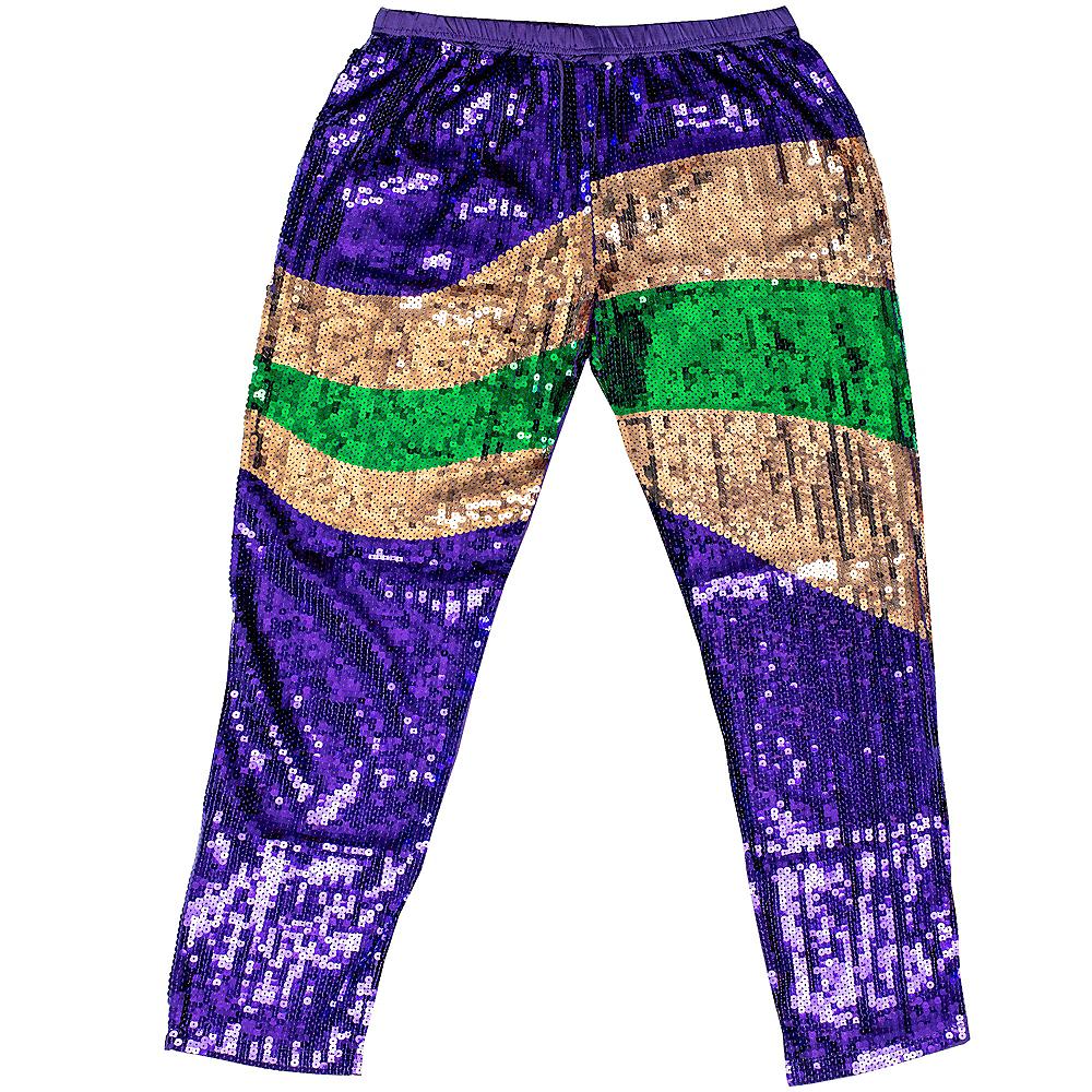 Adult Sequin Mardi Gras Pants Image #1
