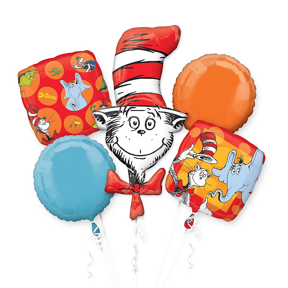 Nav Item for Dr. Seuss Balloon Bouquet 5pc Image #1