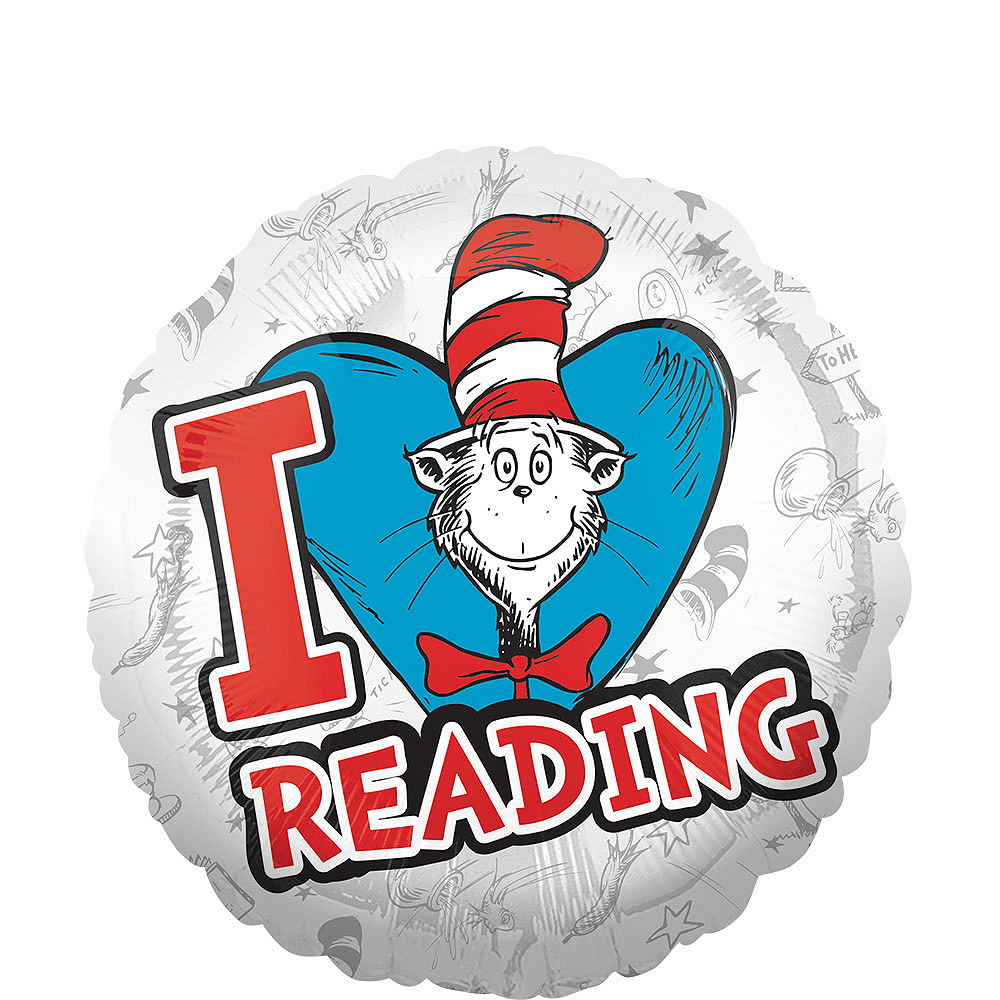 Nav Item for Cat in the Hat I Heart Reading Balloon - Dr. Seuss, 18in Image #1