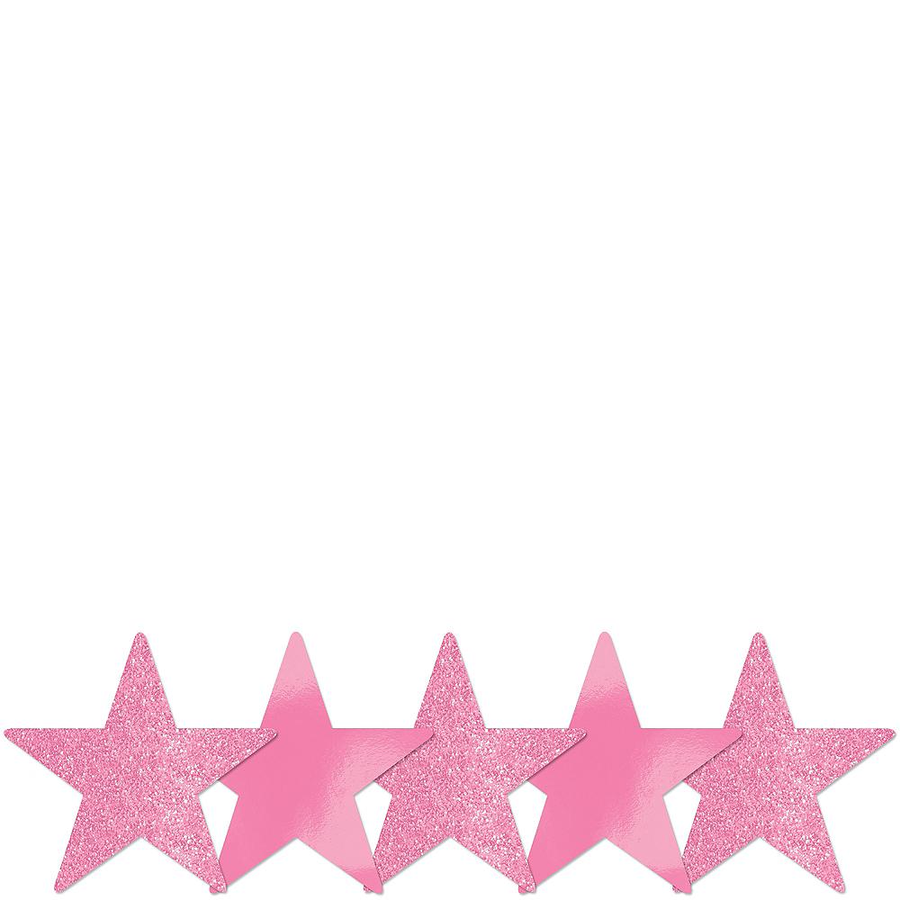 Mini Glitter Pink Star Cutouts 5ct Image 1