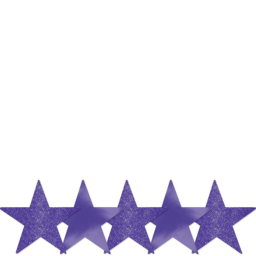 Mini Glitter Purple Star Cutouts 5ct Image #1