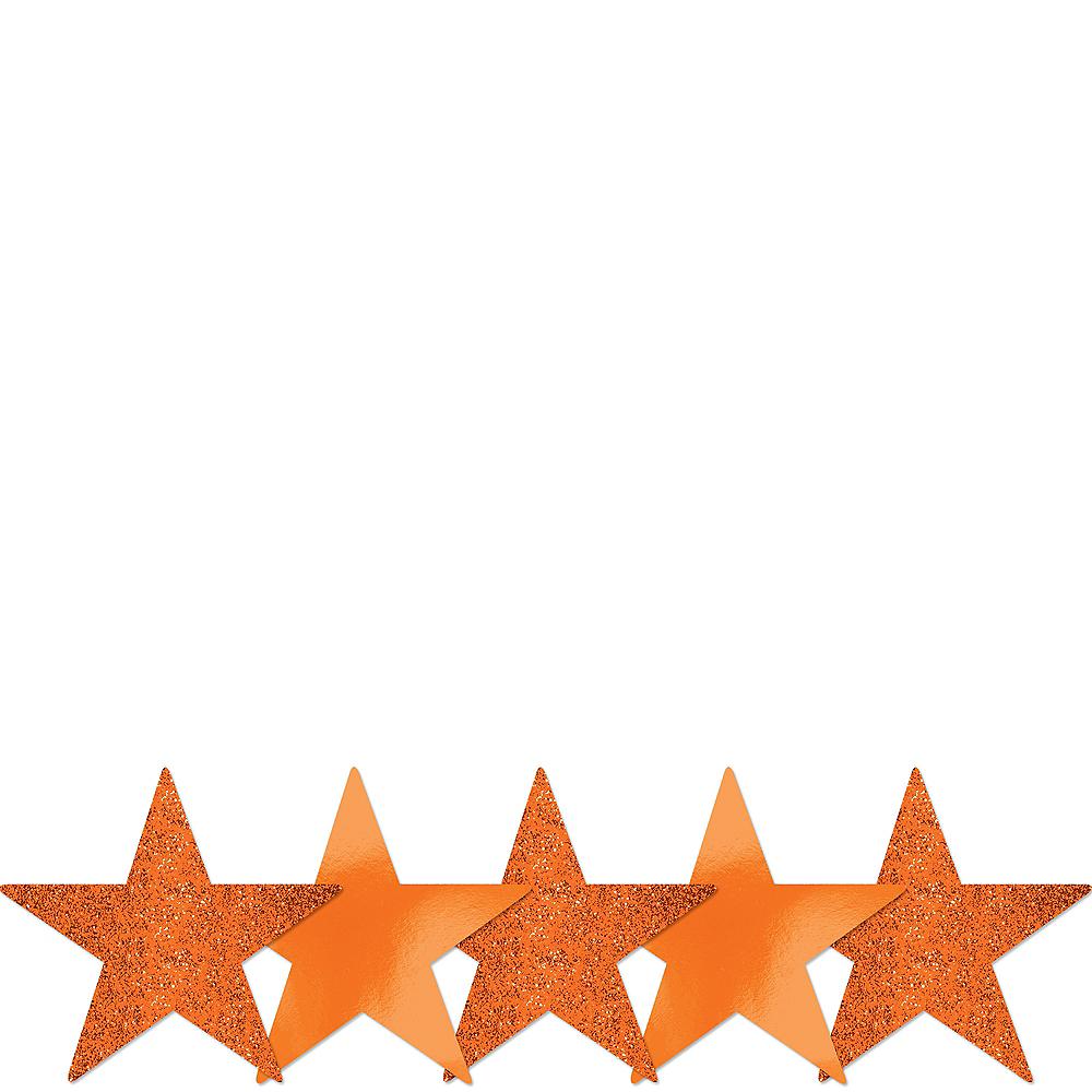 Mini Glitter Orange Star Cutouts 5ct Image #1