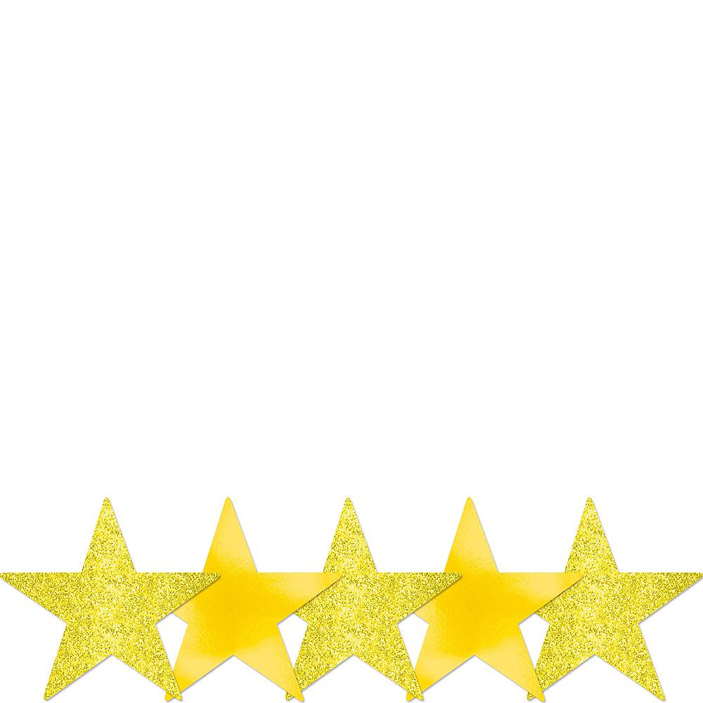 Mini Glitter Sunshine Yellow Star Cutouts 5ct Image #1