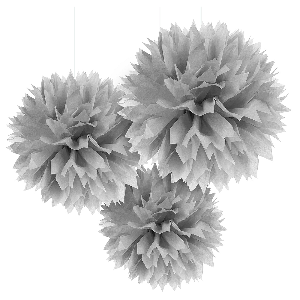 Silver Tissue Pom Poms 3ct Image #1