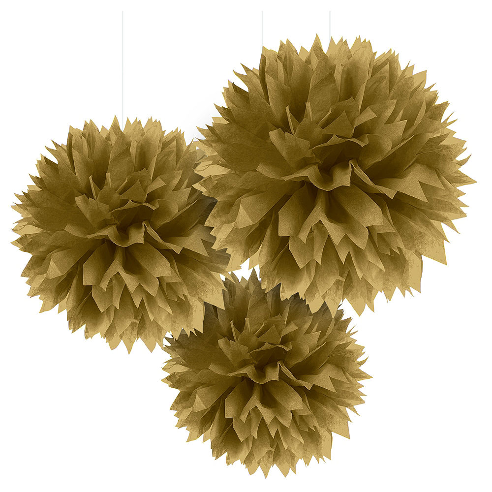 Gold Tissue Pom Poms 3ct Image #1