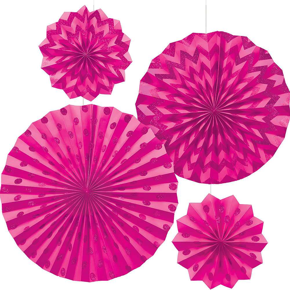 Nav Item for Glitter Bright Pink Polka Dot & Chevron Paper Fan Decorations 4ct Image #1