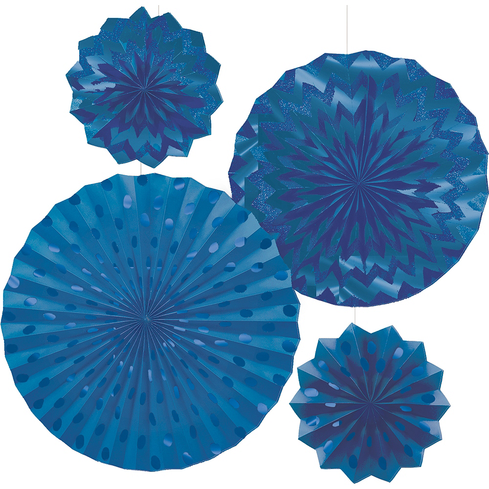 Glitter Royal Blue Polka Dot & Chevron Paper Fan Decorations 4ct Image #1
