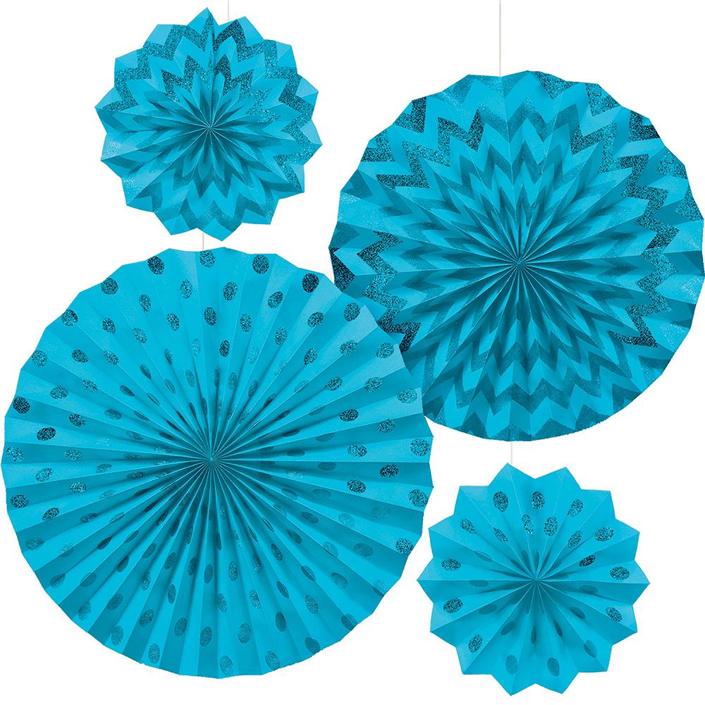 Glitter Caribbean Blue Polka Dot & Chevron Paper Fan Decorations 4ct Image #1
