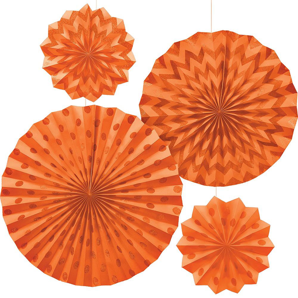 Glitter Orange Polka Dot & Chevron Paper Fan Decorations 4ct Image #1