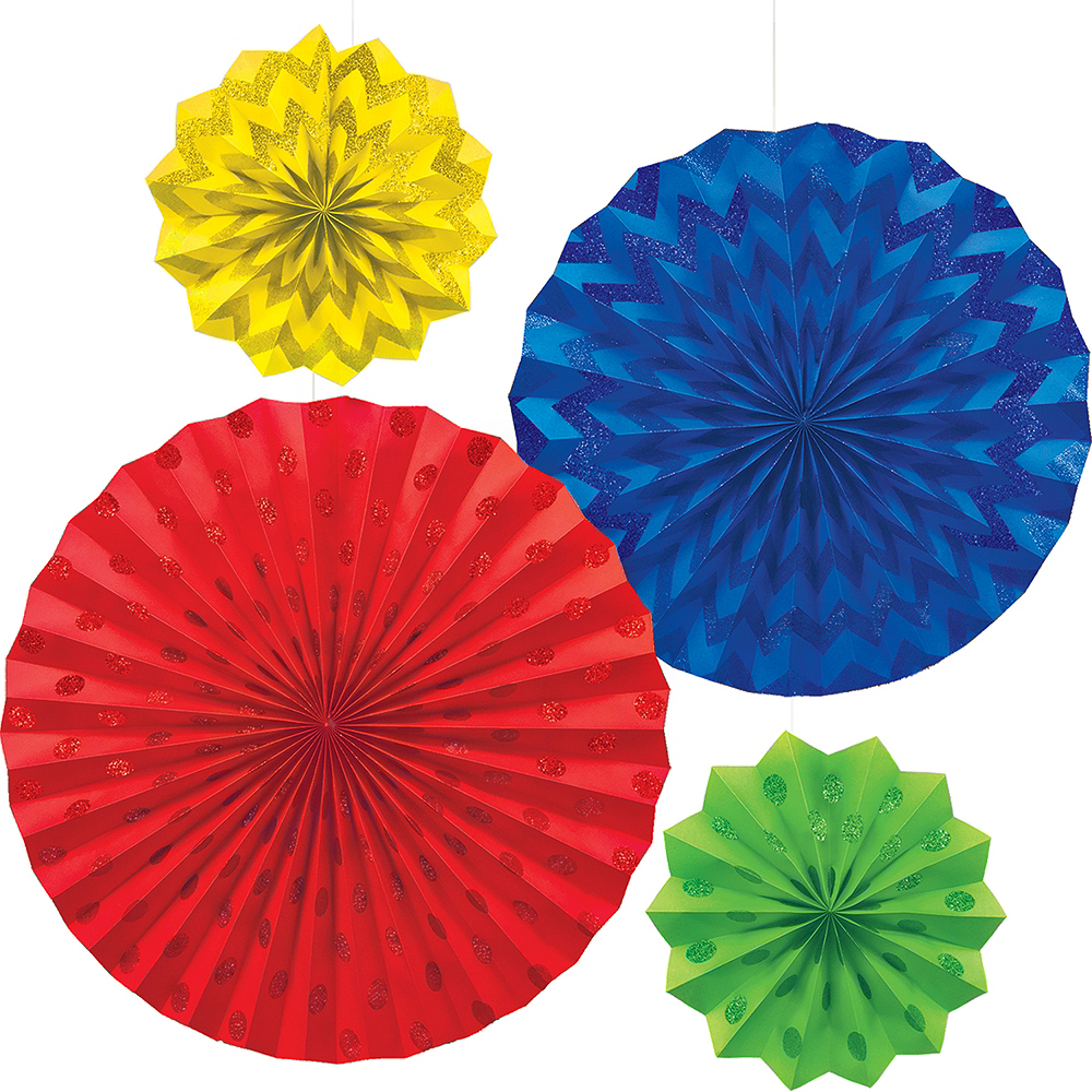 Glitter Rainbow Polka Dot & Chevron Paper Fan Decorations 4ct Image #1