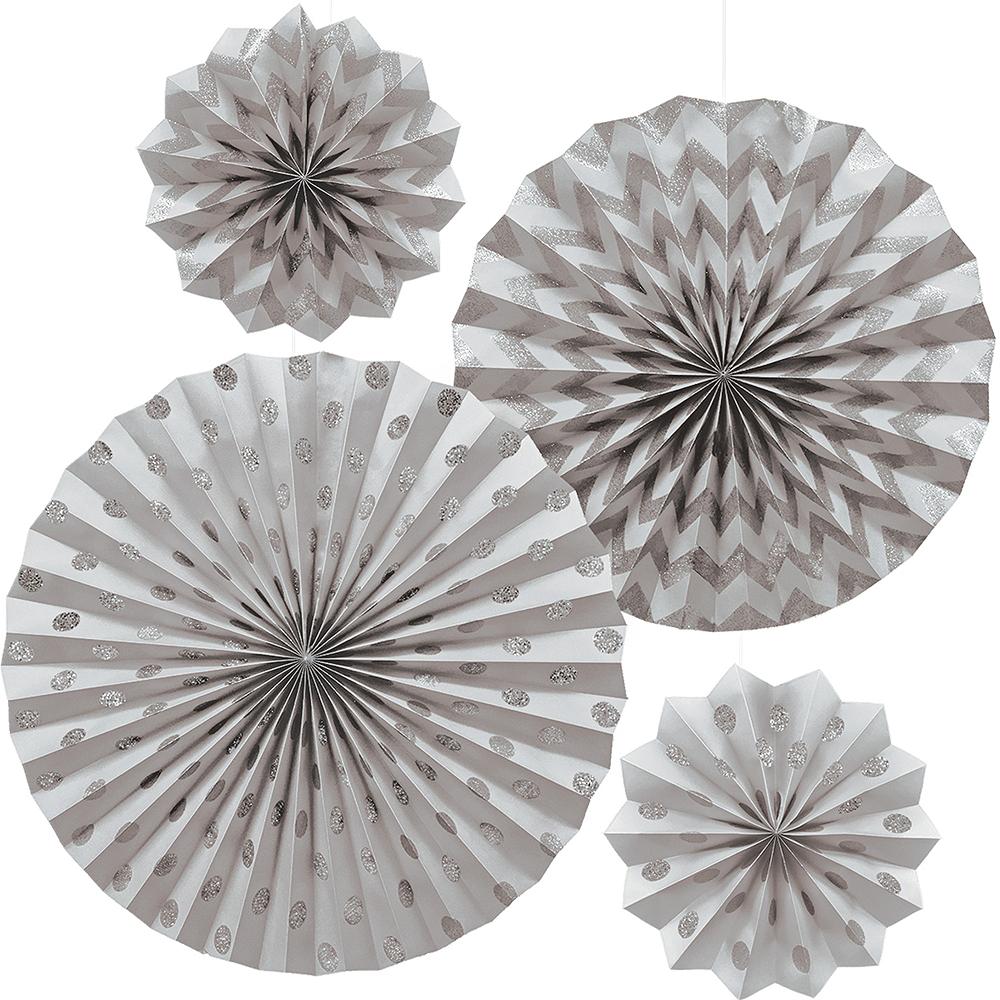 Glitter Silver Polka Dot & Chevron Paper Fan Decorations 4ct Image #1