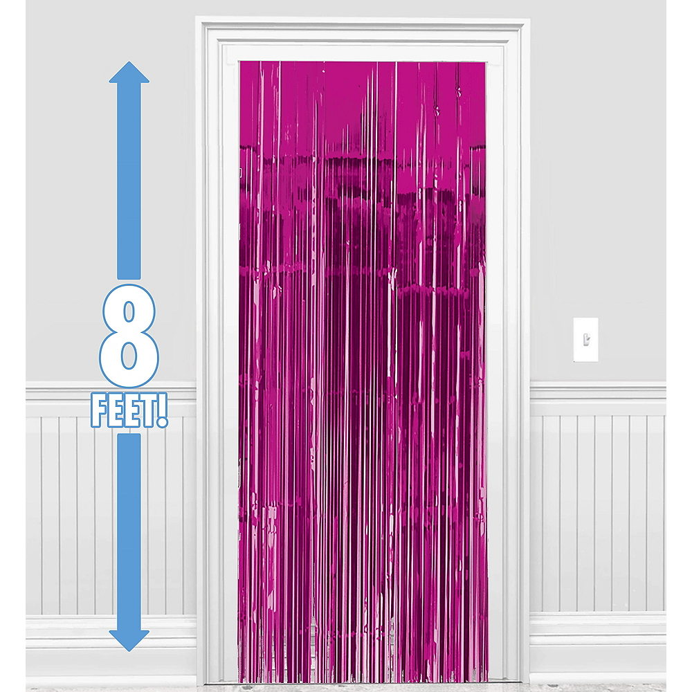 Bright Pink Fringe Doorway Curtain Image #1