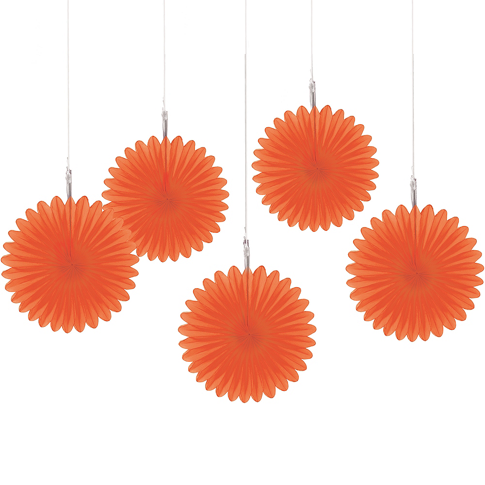 Orange Mini Paper Fan Decorations 5ct Image #1