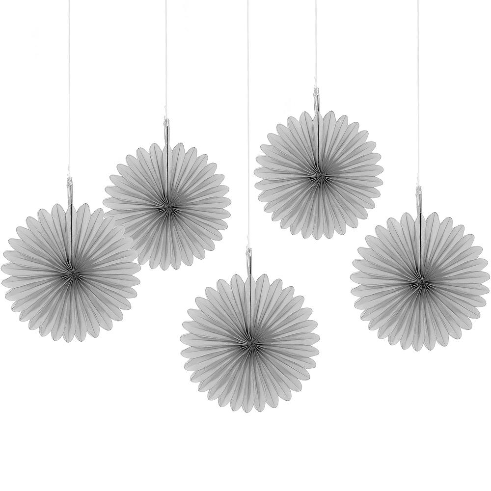 Silver Mini Paper Fan Decorations 5ct Image #1