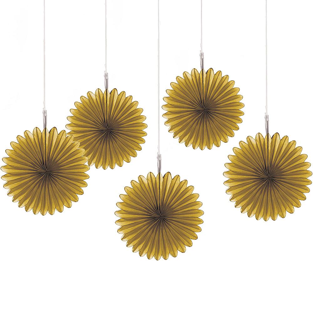 Gold Mini Paper Fan Decorations 5ct Image #1