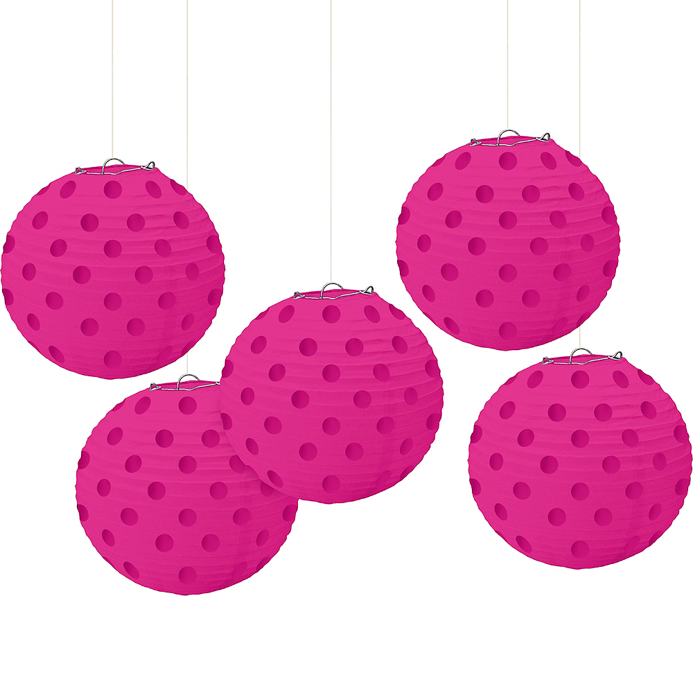 Mini Bright Pink Polka Dot Paper Lanterns 5ct Image #1