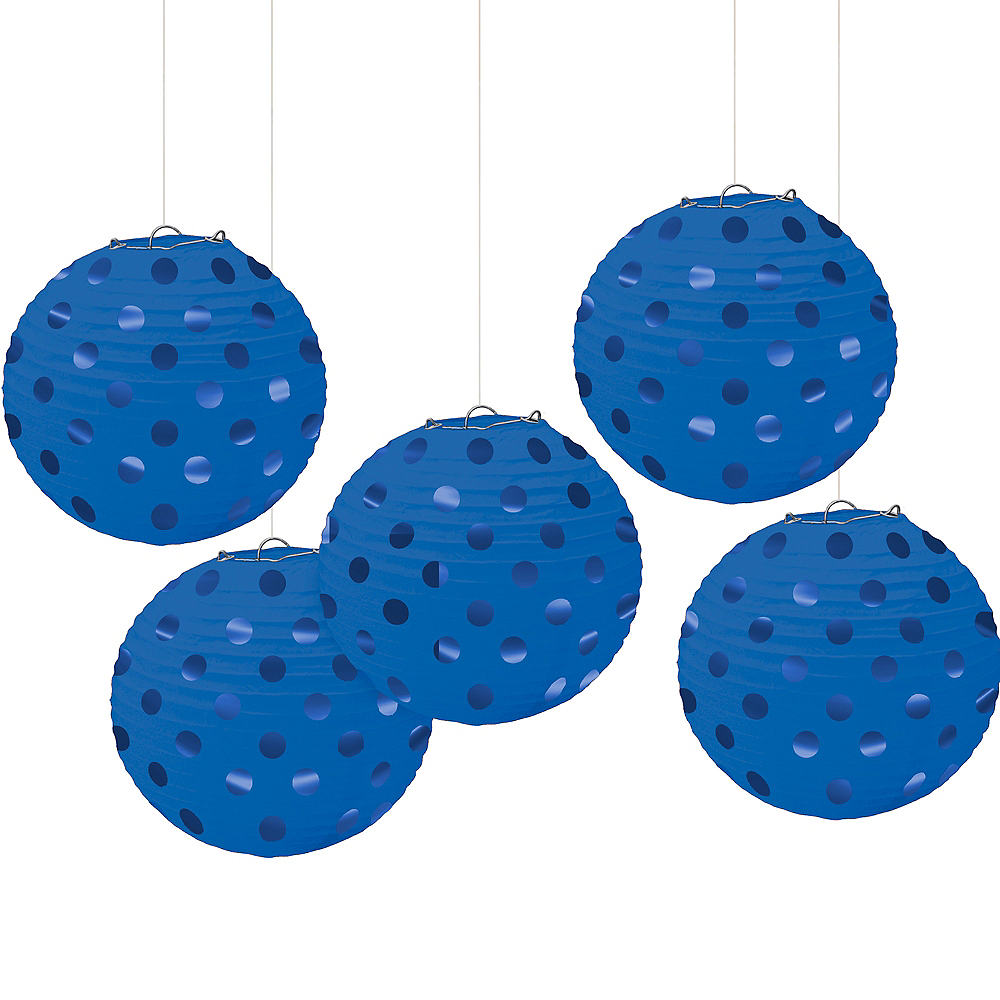 Mini Royal Blue Polka Dot Paper Lanterns 5ct Image #1