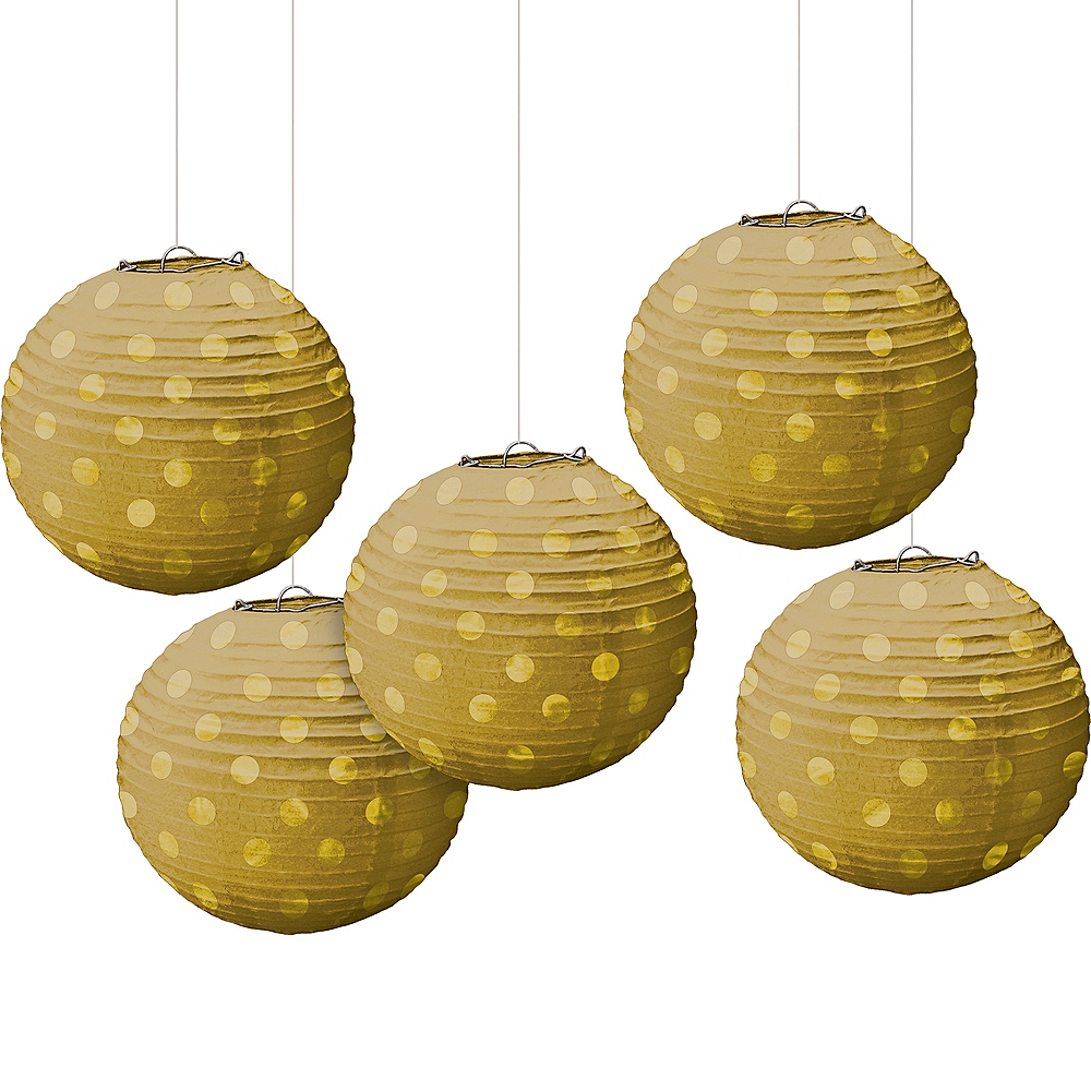 Mini Gold Polka Dot Paper Lanterns 5ct Image #1