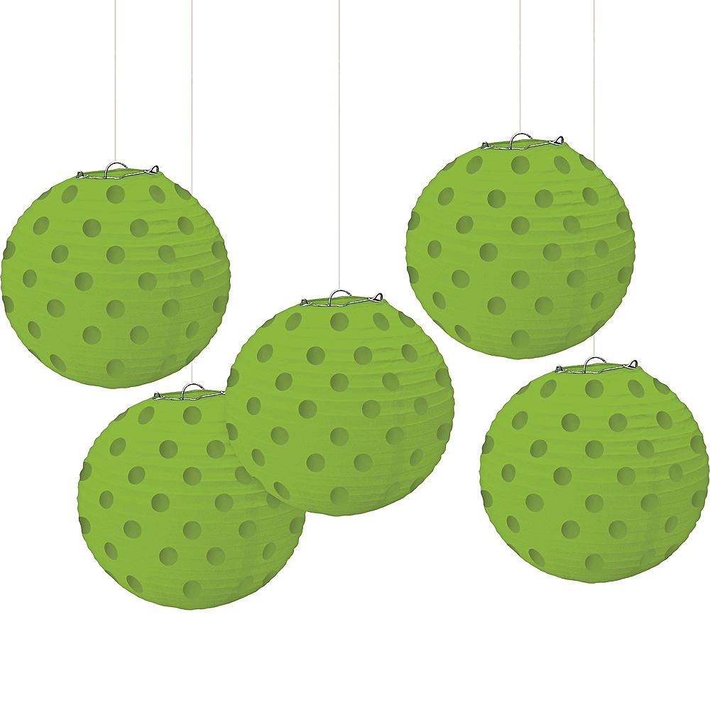 Mini Kiwi Green Polka Dot Paper Lanterns 5ct Image #1