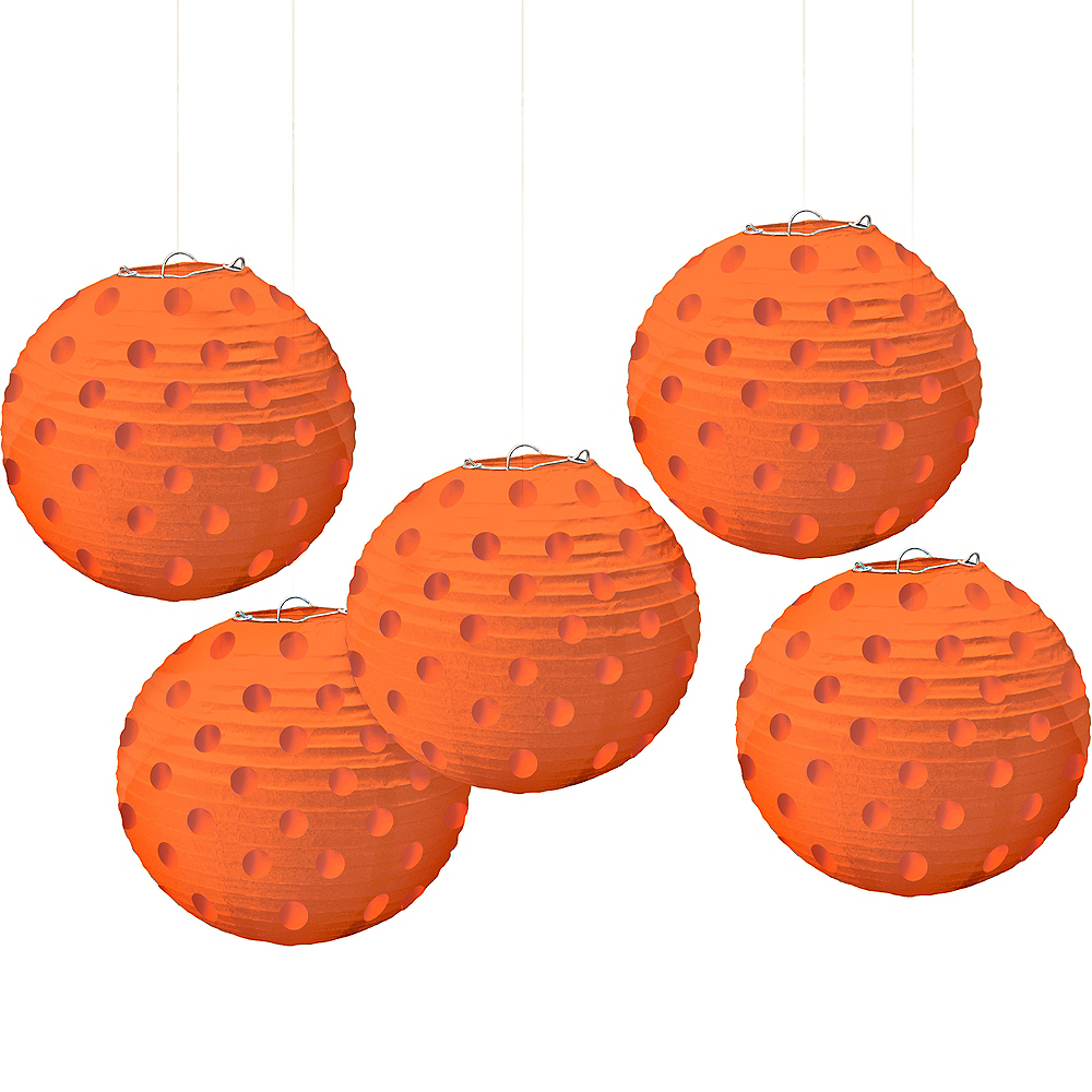 Mini Orange Polka Dot Paper Lanterns 5ct Image #1