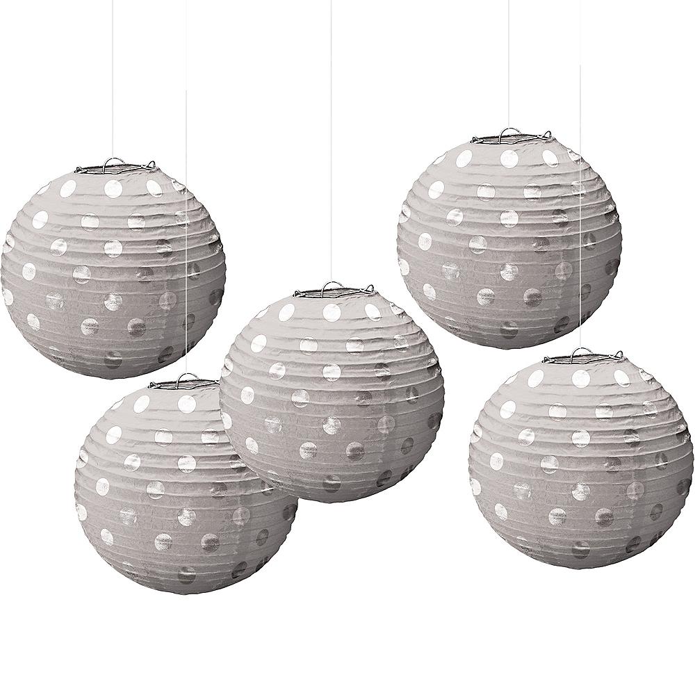 Mini Silver Polka Dot Paper Lanterns 5ct Image #1