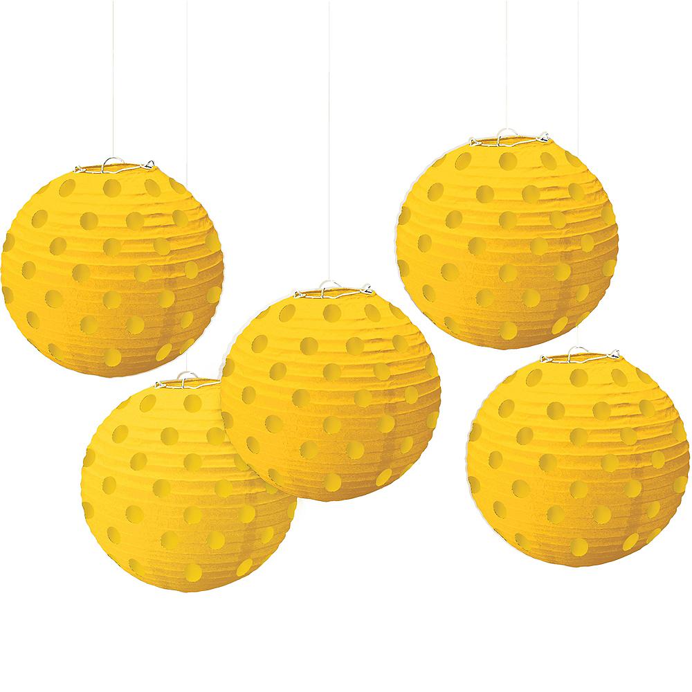Mini Sunshine Yellow Polka Dot Paper Lanterns 5ct Image #1