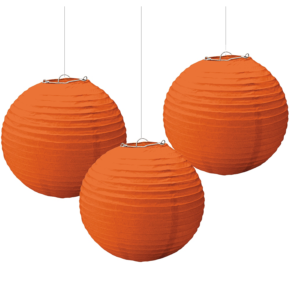 Orange Paper Lanterns 3ct Image #1