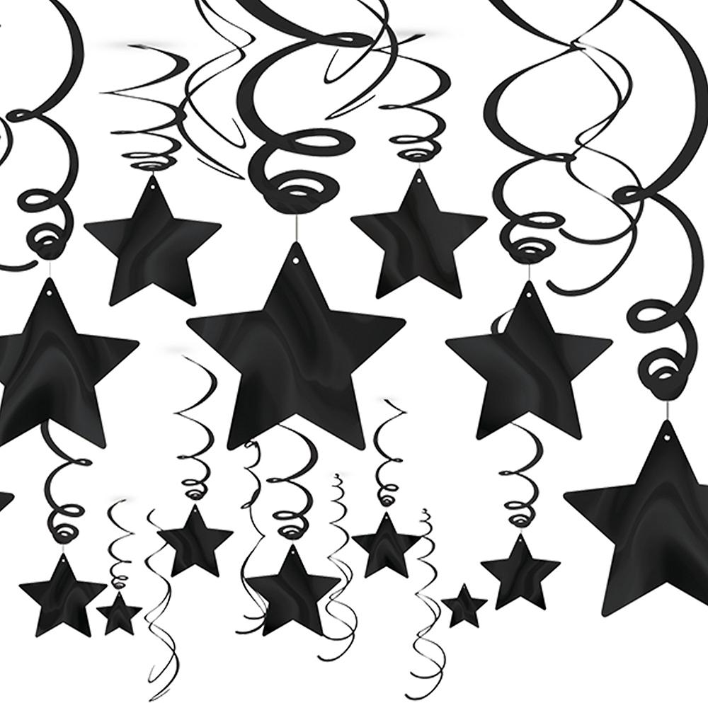 Black Star Swirl Decorations 30ct Image #1