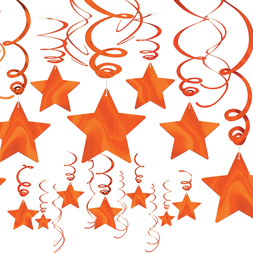 Orange Star Swirl Decorations 30ct Image #1