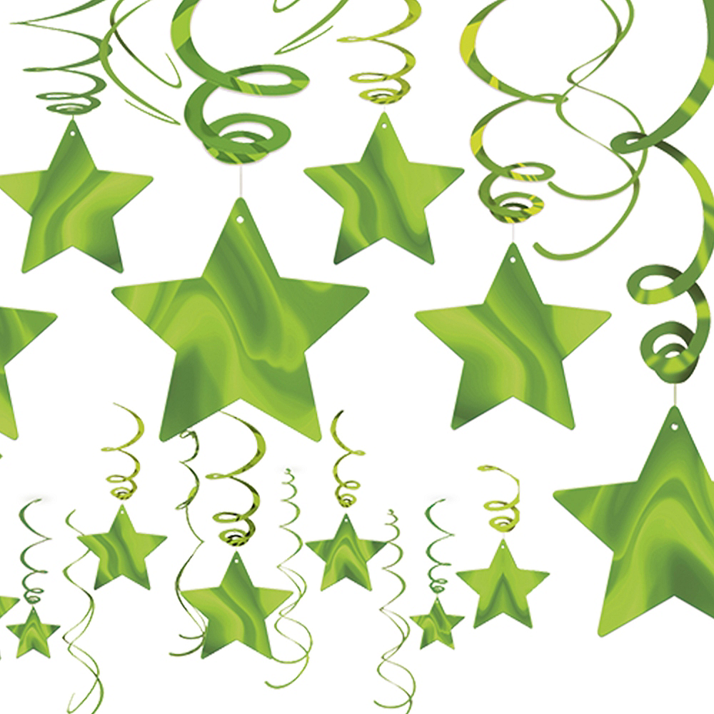 Kiwi Green Star Swirl Decorations 30ct Image #1