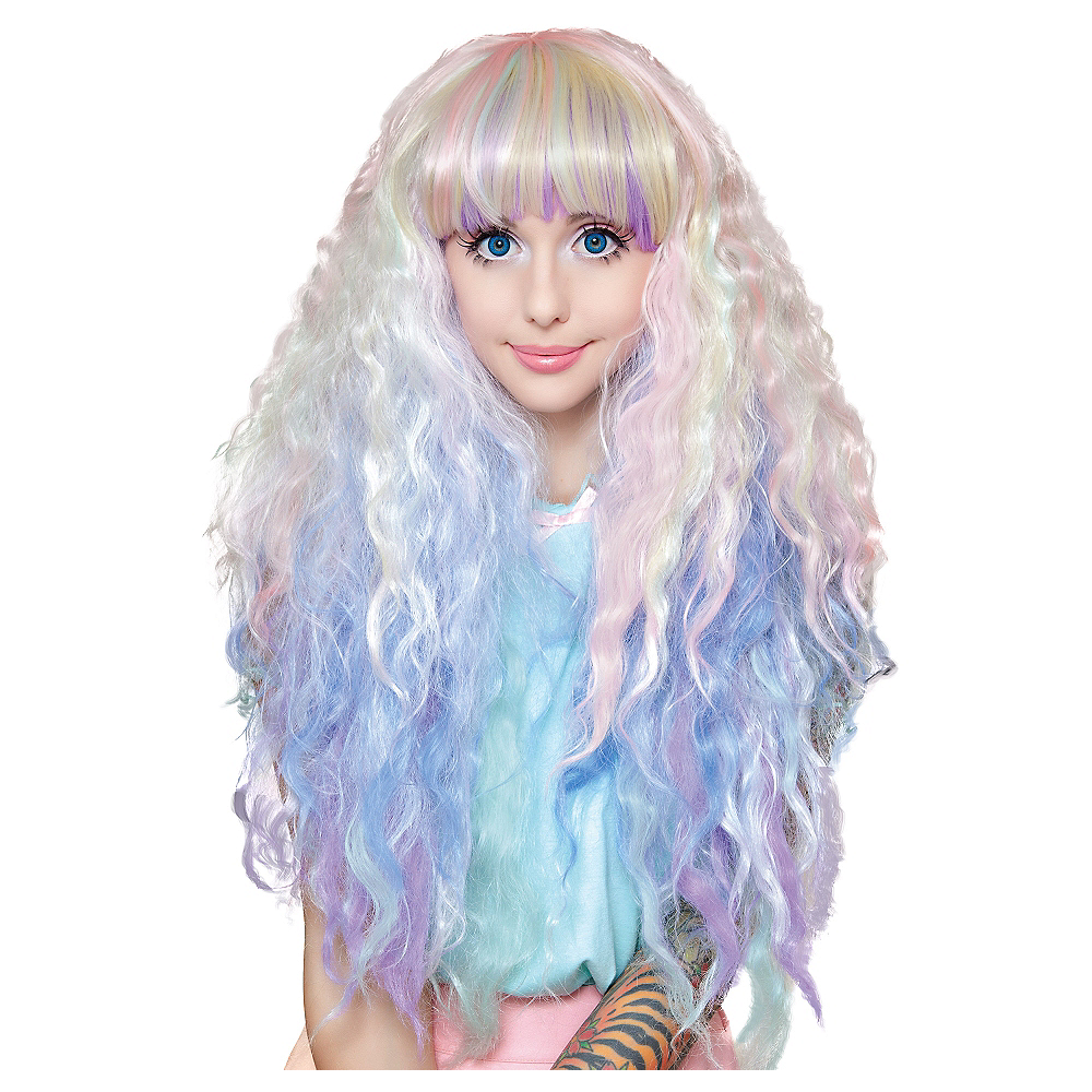 Crimped Pastel Rainbow Ombre Cosplay Wig Image #1