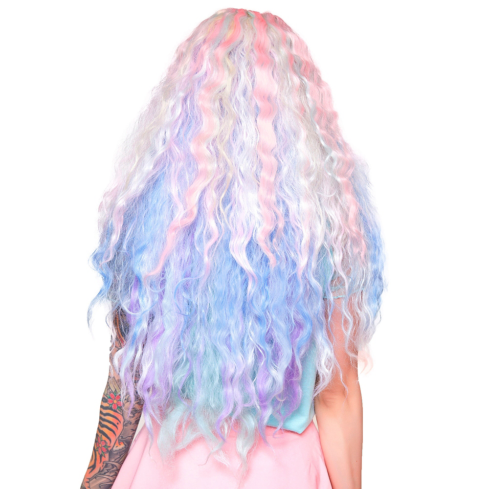 Crimped Pastel Rainbow Ombre Cosplay Wig Image #2