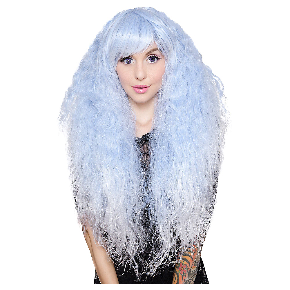 Crimped Light Blue Sax Fade Cosplay Wig Image #1