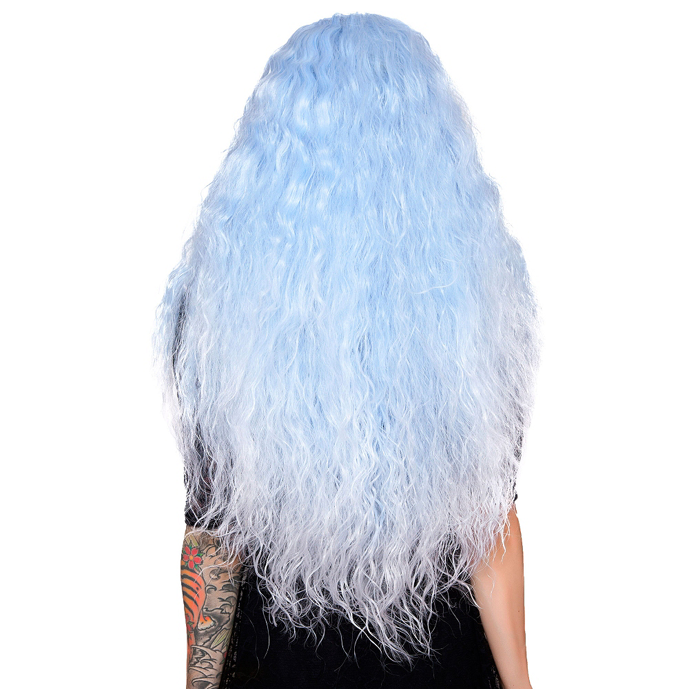 Crimped Light Blue Sax Fade Cosplay Wig Image #2