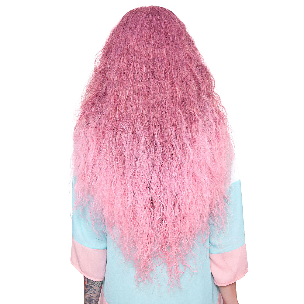 Crimped Light Pink Rose Fade Cosplay Wig Image #2